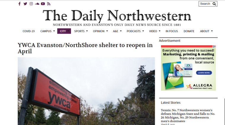 Link to NW article on reopening of shelter