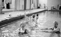 Women in the pool in aqua aerobics class